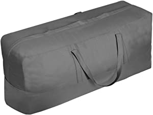 Vailge Patio Cushion/Cover Storage Bag Waterproof Outdoor Patio Furniture Seat Rectanglar Cushions Storage Bag 60 Inch , Zippered Protective Patio Cover Carrying Bag with Handles - Oversized,Grey