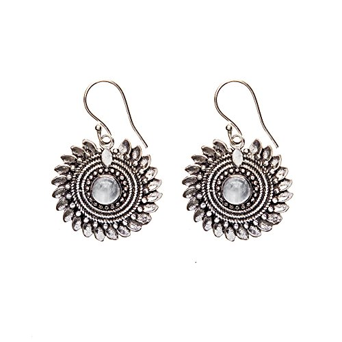 81stgeneration Women's Brass Silver Tone Simulated Moonstone Dotwork Flower Tribal Ethnic Earrings