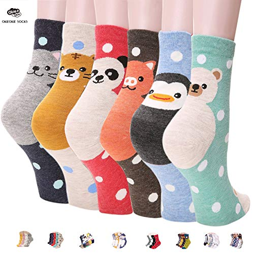 OKIE OKIE Womens Best Socks Gift Set-Cute Animals Art Cartoon Character Funny Novelty Crew (Animal - Double Animal 6pcs)
