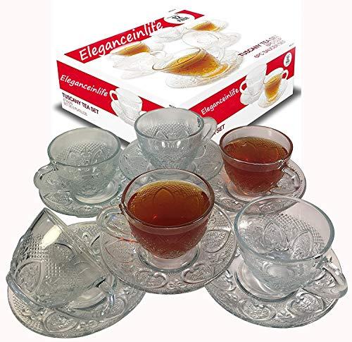 Cups Piece 12 Set Coffee (Tea Cup Set 12 Piece Cup & Saucer Set Glass Tea Party Microwave Safe Coffee or Espresso)