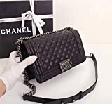 Chanel.Women's Black Classic Diamond Chain Bag Inclined Shoulder Bag