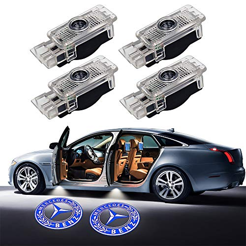 LED Door LOGO projector,Homose Car Courtesy LED Light Shadow Welcome Lamp for Mercedes Benz W203 C-Class C208 C209 CLK-Class R171 R172 SLK-Clas series Courtesy Light (Pack of 4)