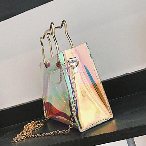 Main ChaîNe Trydoit Femmes Flap Bag Cat Main Lnclined BandoulièRe BandoulièRe Sac à Shoulder Femme à à Laser Cuir En Sac Sac Mini rr60UF