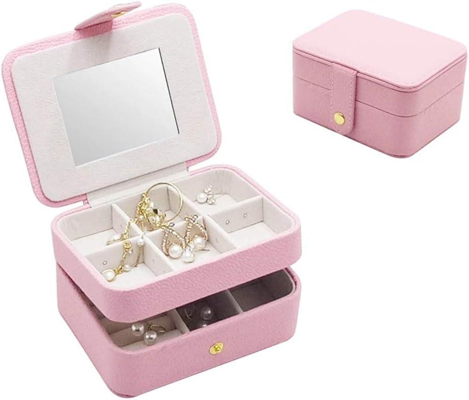 LIMUZI Reflejado joyería Caja Organizador, Cuero joyería de Madera Decorativa Caja de Almacenamiento PU Suave for Pulseras, Pendientes, Anillos, Collares, broches ( Color : Pink )