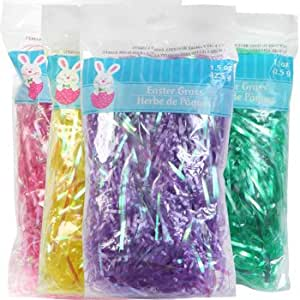 Easter Grass Easter Basket Filler 4 - 4 Oz Bags Multi Colors