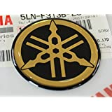 YAMAHA TUNING Emblem Sticker Logo / GOLD - CHROME /More size to select/ BODY GEL Resin Self-adhesive Moto / Jet Ski / ATV / Snowmobile (55mm.)