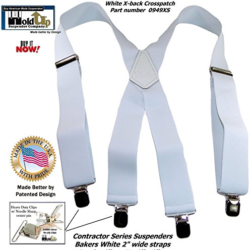 Contractor Series 2'' Wide Work X-back Suspenders in Bakers White with jumbo No-Slip Patented Clips by Hold-Up Suspender Co. (Image #5)