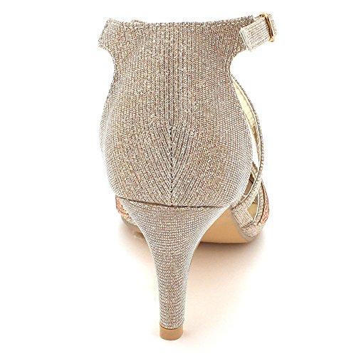Fête Champagne des Haut Cristal Dames Soir Brillant Taille Sandales Mariage De Diamante de mariée Bal Talon Femmes Chaussures YwAn1FUxf