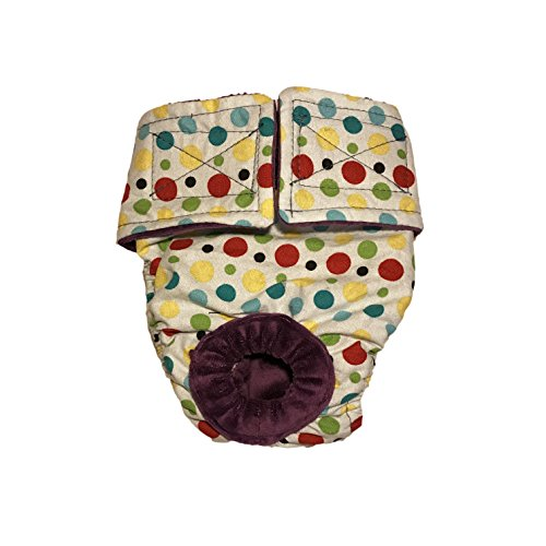 on sale Dog Diapers - Made in USA - Multi Color Polka Dot on White Washable Dog Diaper for Incontinence, Housetraining and Dogs in Heat