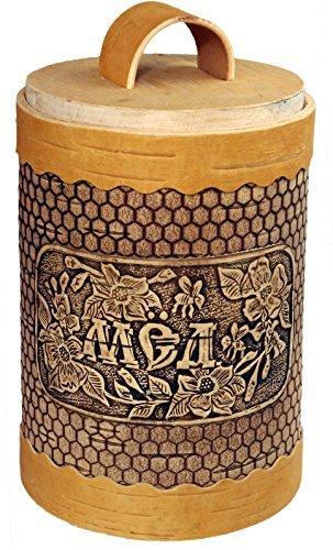 Sugar Birch Bark Jar. Naural Wooden Kitchen Container.