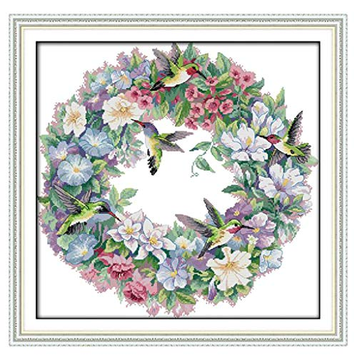 - SM SunniMix Stamped Cross Stitch Kits with Printed Pattern - The Art of Hummingbirds, for Embroidery Cross-Stitching Lover - 11CT 65x64cm