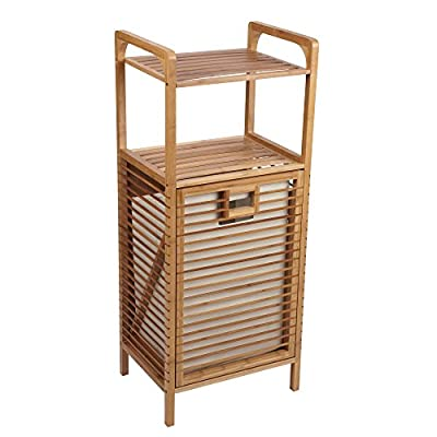 Household Essentials 6231-1 Tilt-Out Bamboo Laundry Hamper | Storage Shelves and Included Removable Liner - SINGLE LOAD TILT OUT wooden bamboo hamper stand with 2 shelves and a hard sided hamper ORGANIZE BATHROOM and closet spaces with SPA like serenity BAMBOO FRAME AND SHELVES with removable soft sided hamper liner - laundry-room, hampers-baskets, entryway-laundry-room - 511bUBxTzeL. SS400  -