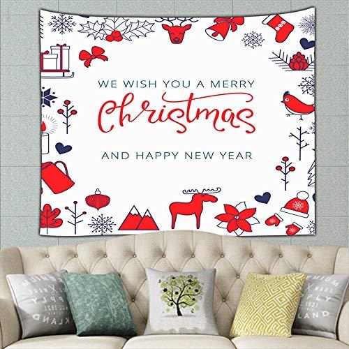 Vintage Christmas Card Elk Sledge Gifts Holidays Backdrop Tapestry Wall Tapestry Bohemian Wall Hanging Tapestries Wall Blanket Wall Art Wall Decor Beach Tapestry Tapestry Wall Decor 60 X 51 Inches