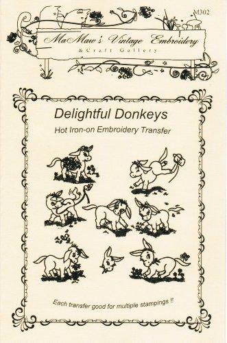 Delightful Donkeys Hot Iron Embroidery Transfers (Vintage Rick Rack)