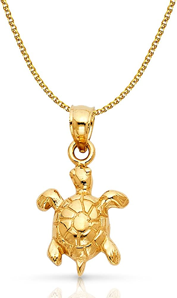14K Yellow Gold Turtle Charm Pendant with 1.5mm Flat Open Wheat Chain Necklace