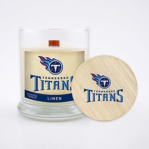 Worthy Promo NFL Tennessee Titans Linen Scented Soy Wax Candle, Wood Wick and Lid, 8 oz