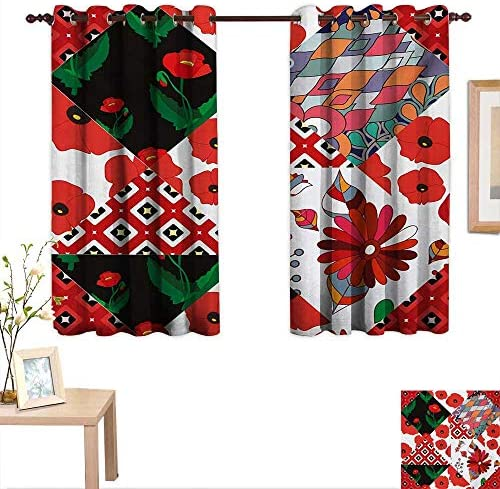 MartinDecor Retro Decor Curtains by Patchwork Inspired Pattern with Poppy Flowers Russian Slavic Cultural Design Revival 63 x 72 ,Suitable for Bedroom Living Room Study, etc.