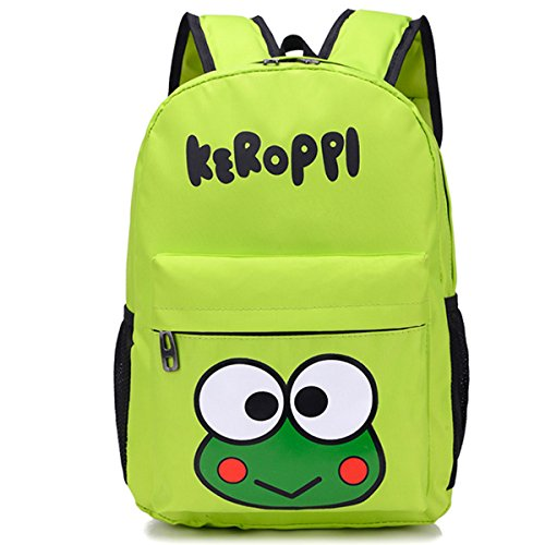 YOURNELO Kid's Cartoon Animation Rucksack School Backpack Bookbag for boys girls (Green Keroppi)