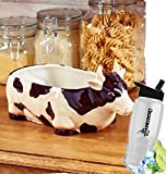 Gift Included- Country Farmhouse Kitchen Accents Decorating Cow Serving Bowl Fruit or Bread Bowl + FREE Bonus Water Bottle by Home Cricket Homecricket