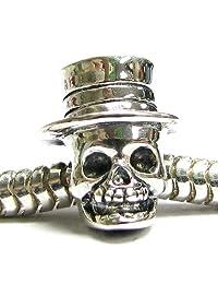 Queenberry Halloween Sterling Silver Hat Skull MR Skeleton Dead Bead For European Chamilia Biagi Troll Pandora Charm Bracelets