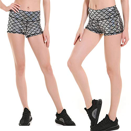 Pantaloncini sexy da donna a sirena, Fish Scale Mermaid riassunti sexy Panty shorts,Fish Scales Pantaloncini Donna,Donne Mermaid Pantaloncini Shorts Clubwear Elastico Slim Fit Model Mini Shorts Argento