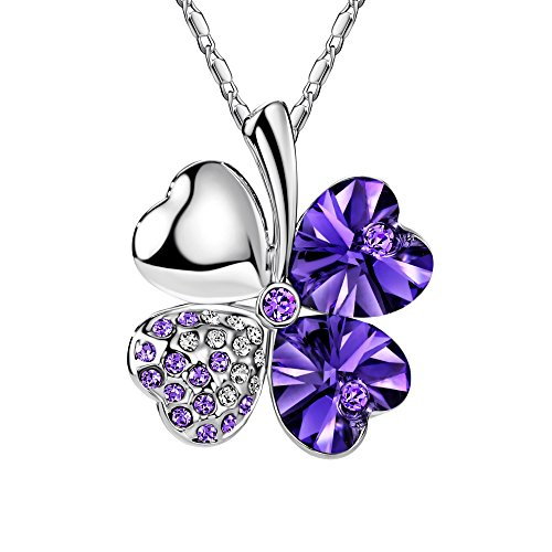 FANSING Heart Crystal Four Leaf Clover Pendant Luck Necklaces for Women & Girls Purple
