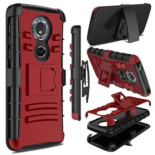 Moto G6 Play Case, Moto E5 Case, Zenic Heavy Duty Shockproof Full-Body Protective Hybrid Case Cover Swivel Belt Clip Kickstand Motorola Moto G6 Play (Red)