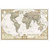 """Vintage Cotton Map of the World Canvas Poster (44""""x30"""")"""