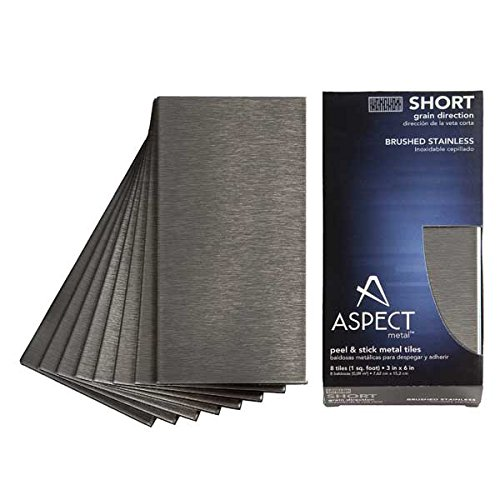 Aspect Peel and Stick Backsplash 3inx6in Brushed Stainless Short Grain Metal Tile for Kitchen and Bathrooms