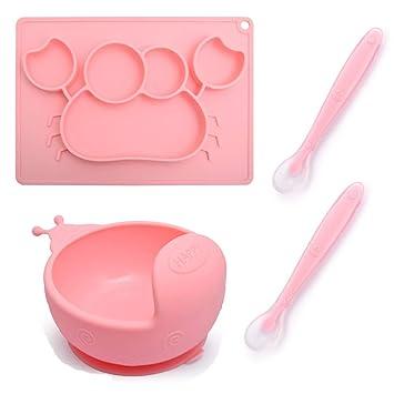 Baby Schüssel mit Saugnapf Rutschfeste Silikonschalen mit Deckel für