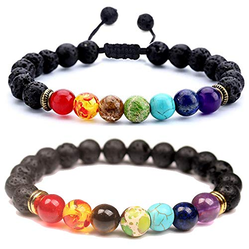 TOMLEE 8mm Lava Rock Stone Beaded Chakra Bracelets Adjustable Handmade Woven Rope Bracelet Yoga Beads Relaxation Jewelry