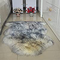 Jackcsale Genuine Sheepskin Pelt Shaggy Area Rug Carpet Floor Mat for Bedroom Livingroom Armchair Couch Wolf Tip 2.5ft x 3.3ft