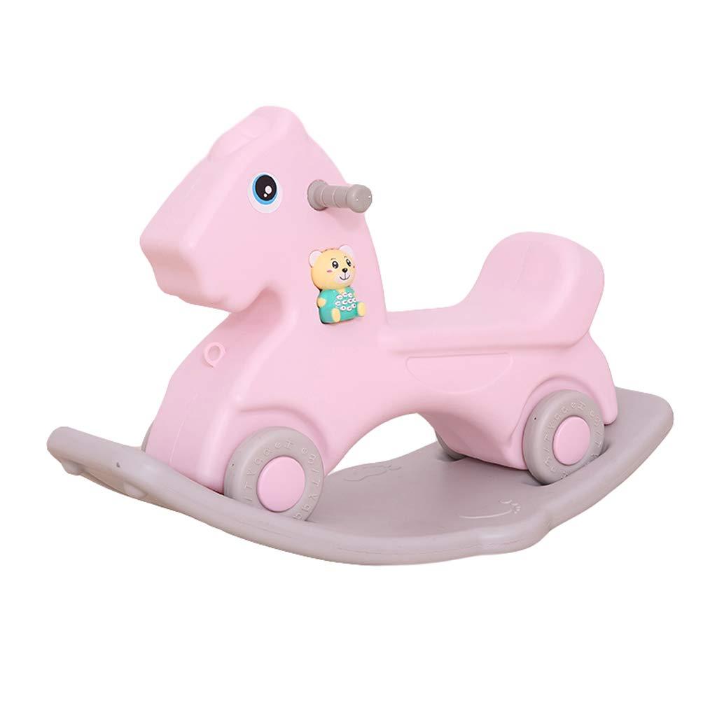 HUXIUPING Plastikschaukelpferd-Trojan-Baby-kleines Schaukelpferd-großes Starkes doppelt verwendbares Innenbaby-Spielzeug (Farbe : Rosa)