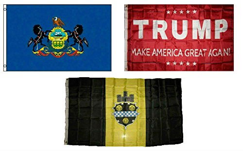 Pittsburgh City Flag (ALBATROS 3 ft x 5 ft Trump Red with State of Pennsylvania with City of Pittsburgh Set Flag for Home and Parades, Official Party, All Weather Indoors Outdoors)
