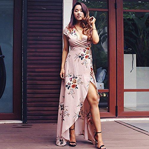 Fiesta Estampado Vestido Largo Verano 2018 Vestidos Floral Mujer Noche Escote V Brown Falda en Mujeres Playa Wq1WwOFxgp