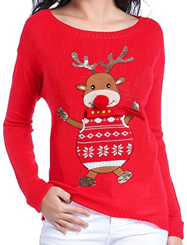 Christmas Sweater 3D Nose Reindeer Sweater