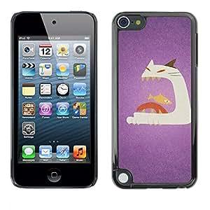 TopCaseStore / la caja del caucho duro de la cubierta de protección de la piel - Cat Fish Big Mouth Art Painting - Apple iPod Touch 5