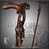 Snake Cobra & Skull Head Wooden Carved Carving Hand Crafted Walking Stick Cane