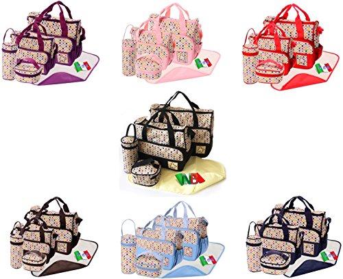 Nido del Bimbo–Juego de bolsas [Lunares] para Cambio de Pañales, 5 unidades + 2º Bolso + Cambiador + Porta Biberón marrón rosa