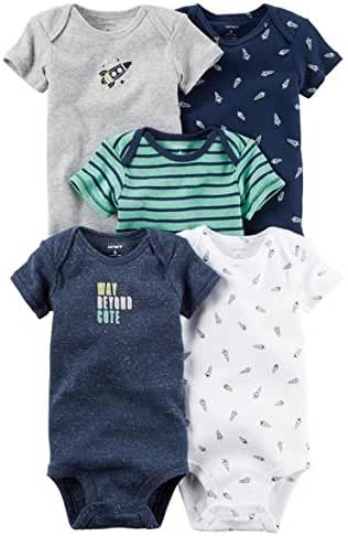 Carters Baby Boys 5 Pack Bodysuits (Baby) (3 Months, Navy Spacesuit)