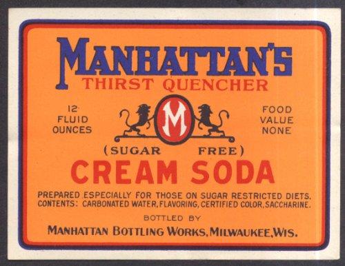 Manhattan's Thirst Quencher Cream Soda Milwaukee WI unused label ca 1930s from The Jumping Frog