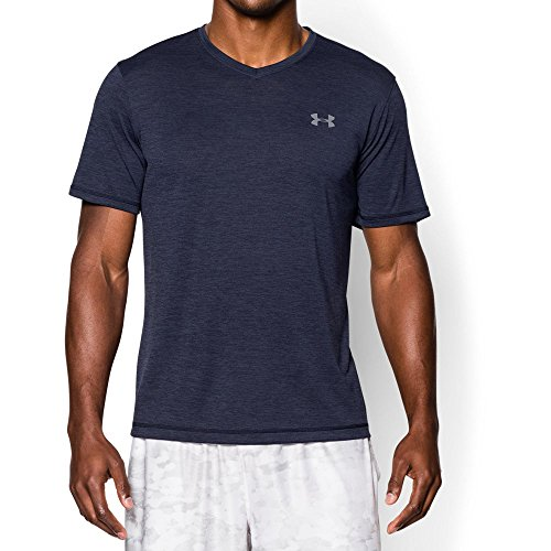 Under Armour Men's Tech V-Neck T-Shirt, Midnight Navy /Steel, X-Large (Under Armour Heatgear Short Sleeve T Shirt Mens)