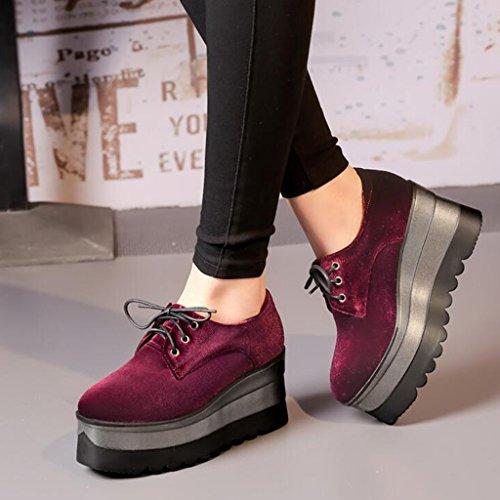 Pour Semelle Automne Pente Profonde Bouche D'étudiant Printemps Escarpins Rouge Chaussures Tête Carrée Givré Femmes Épaisse Tq1Wfaw