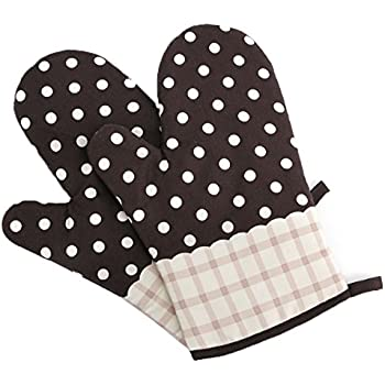 Artmoki Oven Mitts Heat Resistant Baking BBQ Set of 2 Oven Gloves with Dot Cooking Grilling High Temperature Hand Protection, 11 X 5.9 Inches - Brown
