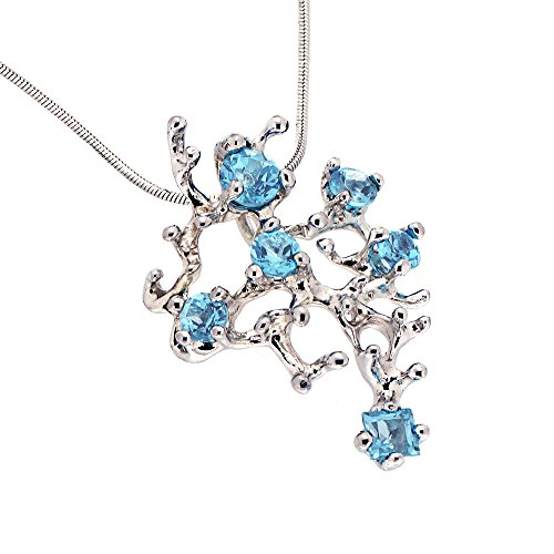 Gold Genuine Swiss (14k White Gold, Genuine Swiss Blue Topaz Gemstone, Coral Reef Organic Statement Pendant Necklace)