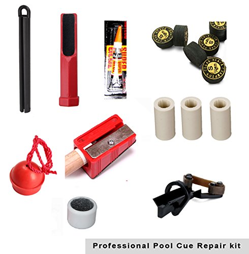 Pool Cue Repair Tip Kit-1 X Tip Clamp, 2 X Cue Tip Shaper, 3 X Cue Tip, 3x Ferrules, 1 X Chalk Holder, 1 X Spike Pik, 1x (Ferrule Holder)