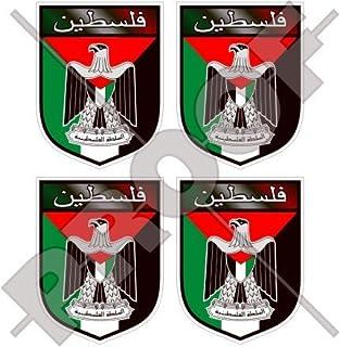 """2/"""" PALESTINE Shield Decals x4 Palestinian State 50mm Bumper-Helmet Stickers"""