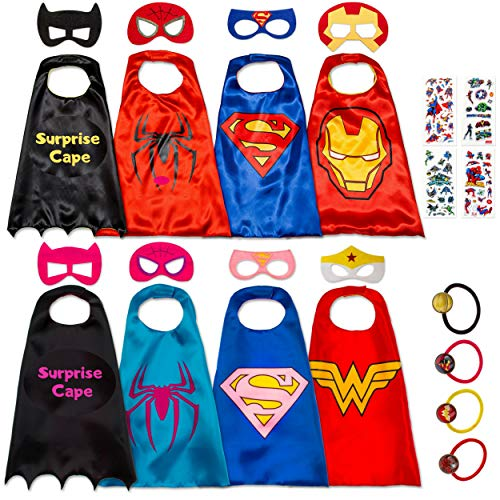 8 Superhero Capes for Kids - Super Hero Toys & Costumes Birthday Party Supplies (8 Pack Mix) ()