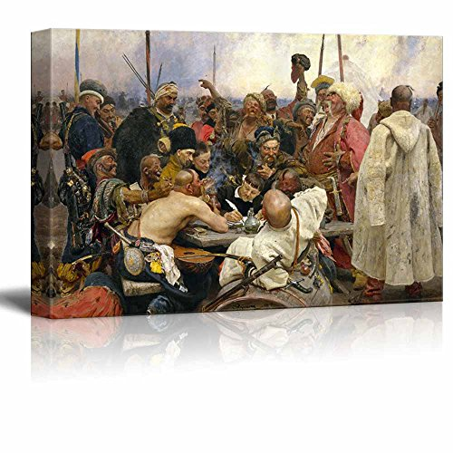 Canvas Ottoman - wall26 - Reply of the Zaporozhian Cossacks to Sultan Mehmed IV of the Ottoman Turkey Empire by Ilya Repin - Canvas Print Wall Art Famous Painting Reproduction - 16
