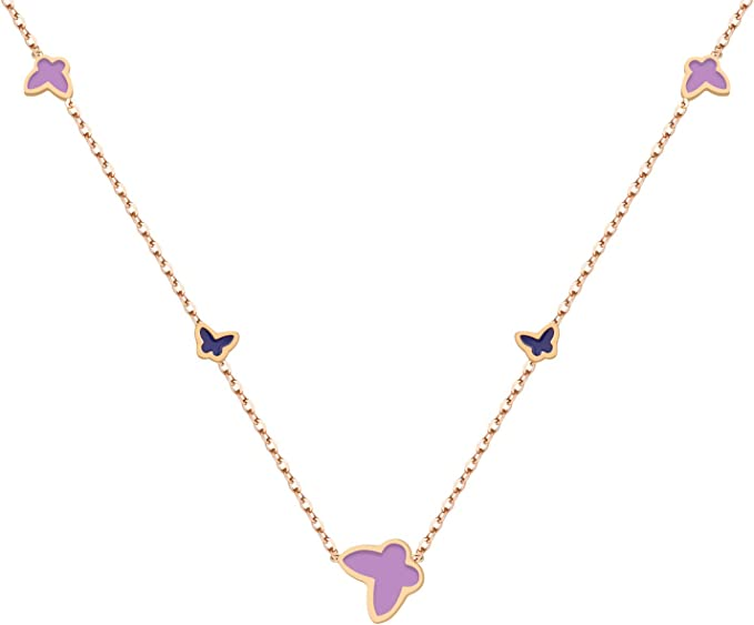 ZD-jewelry Butterfly Necklace for Women,14K Gold Plated Black and Purple Enamels Simple Delicate Choker Necklace Gifts for Women